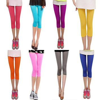 Sexy Solid colorful Women Summer smooth Silk Leggings capris High Stretched Jeggings Fitness Pants Ballet Cropped Trousers red