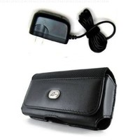 WALL CHARGER & BLACK HORIZONTAL LEATHER ELEGANT PREMIUM COVER BELT CLIP SIDE CASE POUCH FOR LG Chocolate Touch VX8575