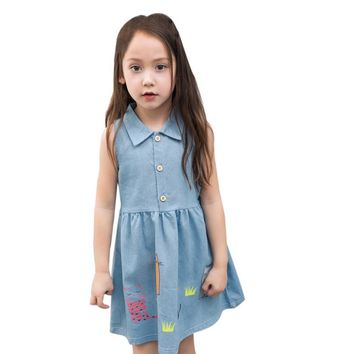 Denim Summer Kids Clothing Girls Dresses with Cat Print Lovely Children