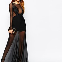 TFNC Mesh Overlay Maxi Dress With Floral Applique Bust