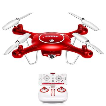 X5UW Wifi FPV 720P HD Camera Quadcopter Drone with Flight Plan Route App Control & Altitude Hold Function Red