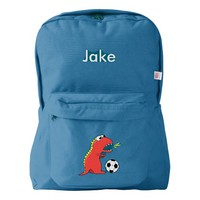 Funny Cartoon Dinosaur Soccer Personalized Backpack
