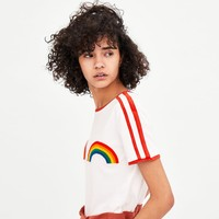 T-SHIRT WITH TRIM AND RAINBOWS