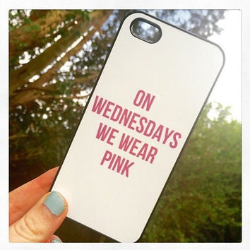 "Black ""On Wednesdays We Wear Pink"" iPhone 4 4S Mean Girls Hipster Phone Case"