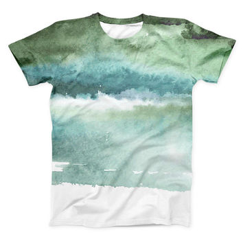 The Greenish Watercolor Strokes ink-Fuzed Unisex All Over Full-Printed Fitted Tee Shirt