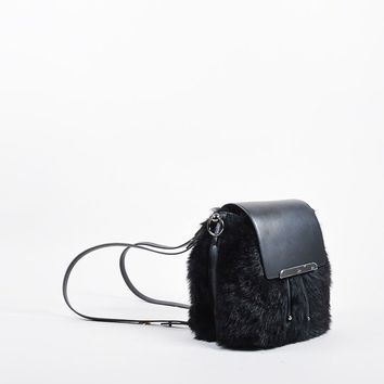 DCCK2 Black Leather and Faux Fur Christian Louboutin Lucky L Bucket Backpack