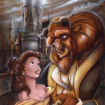 5D Diamond Painting Belle and Beast in the Moonlight Kit