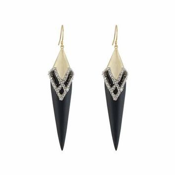 Alexis Bittar Crystal-Encrusted Lattice Lace Drop Earrings, Black