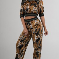 Gold and Hunter Green Tiger Printed Two Piece Set