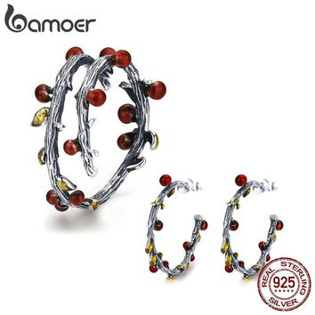 BAMOER Authentic 925 Sterling Silver Autumn Tree Leaves Branch Rings Earrings Jewelry Sets Fashion Sterling Silver Jewelry Set