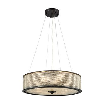 15971/6 Glass Beads 6 Light Chandelier In Oil Rubbed Bronze With Clear Glass Balls