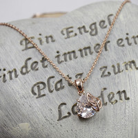 Womens Twinkle Crystal Leaf Pendant Necklace Gift-107