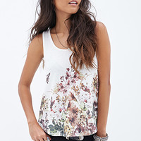 FOREVER 21 Botanical Printed Blouse Cream/Red