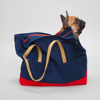 Canvas Pet Tote Navy & Red - Dog Carrier