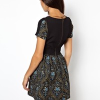 River Island Short Sleeve Tapestry Skater Dress With Jewel Necklace at asos.com