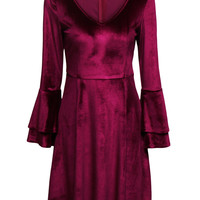 Burgundy Plunge Choker Neck Flared Sleeve Velvet Dress