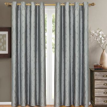 Blue Laguna Pair (Two Panels ) Jacquard Grommet Curtain Panels