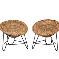 Pair of Jacques Adnet Style Woven Basket Chairs