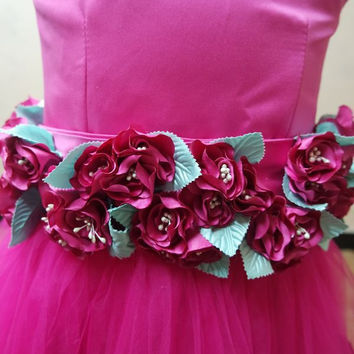 Petals Flowers on Wedding Party Flower Girl Dresses Birthday Party dress Pageant Princess Girl Dress Children Prom Gown