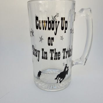 Beer Mug , Gift For Men , Western Theme , Cowboy Up , Vinyl Drink Mug , Truck , Calf Roping , Stars , Funny Beer Mug , Glassware