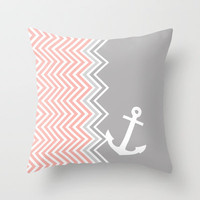Coral Nautical Chevron  Throw Pillow by Sunkissed Laughter