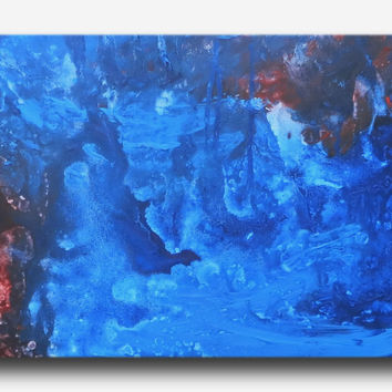 Abstract art canvas painting red blue