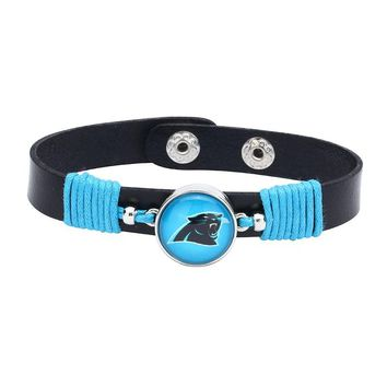 10pcs/lot! Adjustable Premium Leather Ginger Snaps Bracelet with a Carolina Panthers 18mm Snap  for Men,Women and Teens