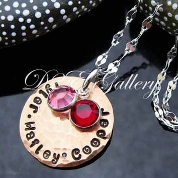 D2E hand stamped recycled penny Mother Jewelry with Swarovski Birthstones, sterling silver necklace