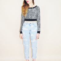 20% OFF VINTAGE 80s black & white leopard print knit ultra cropped bodycon fit indie punk grunge top
