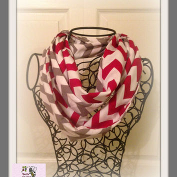 2 Color Grey and Red Chevron Adult Infinity Scarf made with Jersey Knit Material