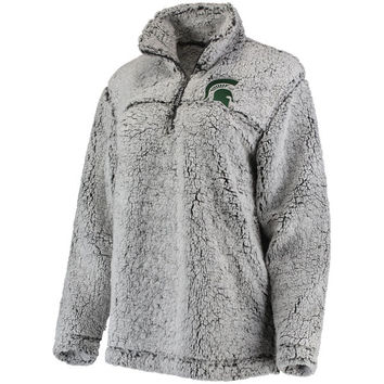 Women's Gray Michigan State Spartans Sherpa Super Soft Quarter-Zip Pullover Jacket