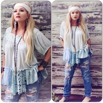 Hippie chic tunic top, wanderlust and woodstock