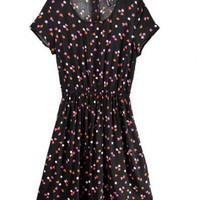 Round Neck Black Floral Print Round Neck Short Sleeve Dress  Zipper type  Floral Print Pop  style 823dr0023 in  Indressme