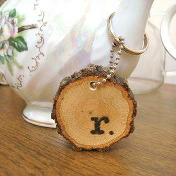 Handmade Keychain Personalized Wood Rustic Wood Burned Monogram Initial