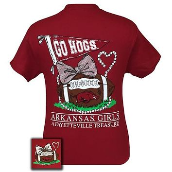 Arkansas Razorbacks Hogs Fayetteville Treasure Pearls Bow T-Shirt