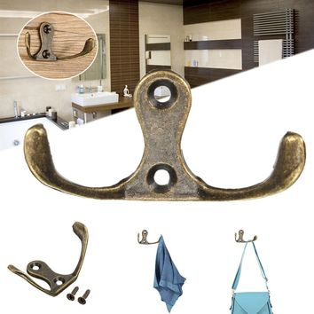 Door Wall Mount Hooks Home Kitchen Towel Clothes Hat Coat Hanger With 2 Holes