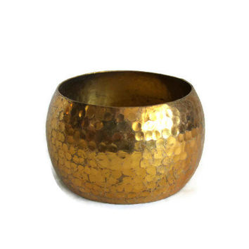 Vintage brass BRACELET, cuff bangle, hammered dimpled texture, STATEMENT jewelry, Goldtone, Womens boho wrist jewellery, gift for her