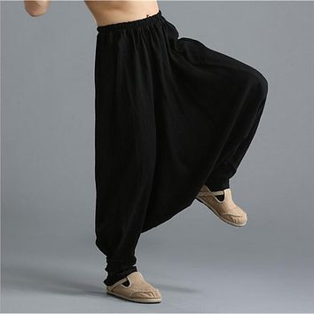 Original design pure linen men's casual pants elastic waist harem pants Haren frog knickers fours knickerbockers