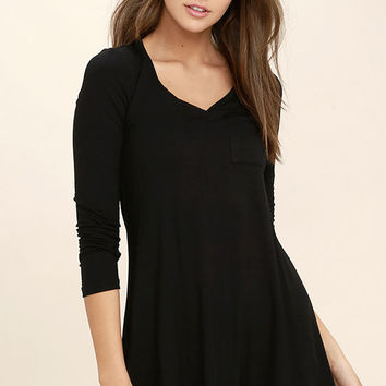 Relaxation Black Long Sleeve Dress