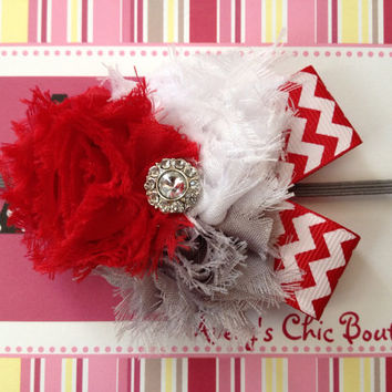 Baby girl headband, newborn headband, toddler headband, photo prop, red and gray, grey headband, petite Ohio State inspired chevron headband