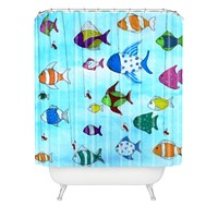 Rosie Brown Tropical Fishing Shower Curtain