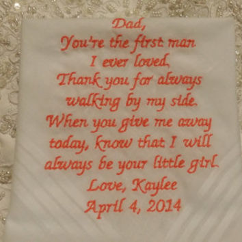 Mens's Striped Dad Personalized Wedding Handkerchief. Gift for the Father of the Bride FREE Sparkling Gift Envelope included.