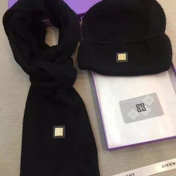 NOV9O2 Givenchy Beanies Winter Knit Hat Cap Cape Scarf Scarves Set Two-Piece-1