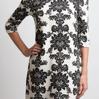 Ivory Damask Shift Dress