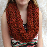 Chunky Knit Cowl - layered cowl - winter accessory - fall accessory - Spice colored infinity cowl - wool cowl - warm winter cowl