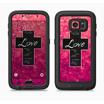 The Love is Patient Cross over Unfocused Pink Glimmer Full Body Samsung Galaxy S6 LifeProof Fre Case Skin Kit