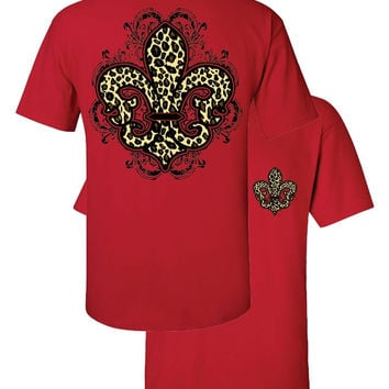 Southern Couture Leopard Fleur De Lis Animal Print Red Girlie Bright T Shirt