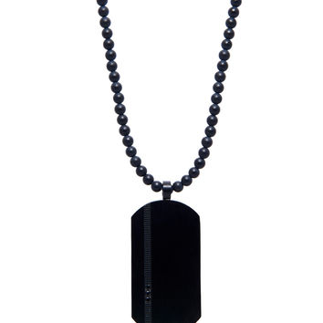 Men's Beaded Necklace with Matte Onyx and Titanium Dog Tag