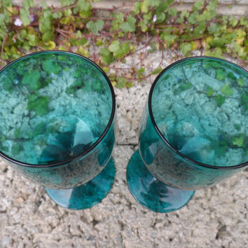 Antique wine glass - pair of Georgian Bristol green wine glasses - hand blown cut glass - drinking glass dating 1830 - vintage green barware