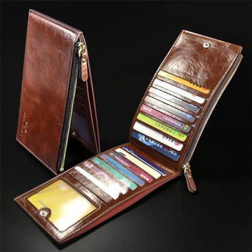Men's Wallets 15 Cards Bits Multifunction Genuine Leather